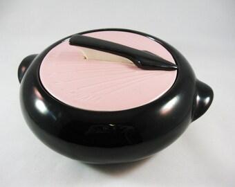 Atomic Retro Pink and Black Sundial Casserole, Kenwood USA pottery