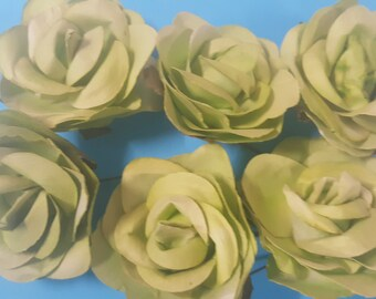 12 piece lime green artificial paper flower 2 1/2 inch