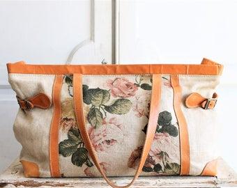 80s vintage linen & leather bag | vintage textile tote