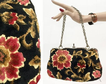 Vintage 30s 40s Hippie Boho Purse Floral Carpet Handbag Clutch 50s Gypsy