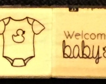 Just Reduced!!  Onesie & Welcome Baby - Cute New WM Rubber Stamp Set of Two - ATC - Domino Art - Collage  - Cards - FREE Shipping