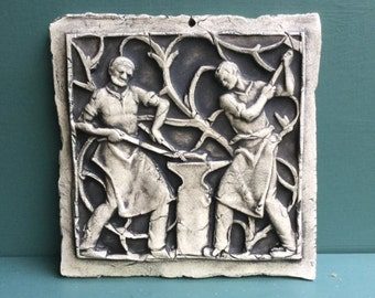 Blacksmiths Ceramic Pottery Relief Sculpture Tile