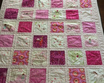 Baby quilt, baby girl quilt, crib/stroller quilt, toddler girl quilt, hand quilted, quilt, Sarah Jane fabric, pink quilt, flowers quilt