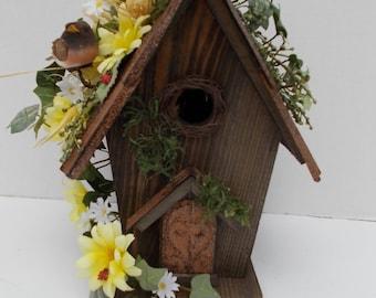 Silk Flower Arrangement on Rustic Country Bird House