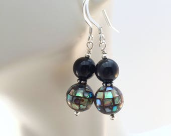 Abalone Earrings - Black Onyx Earrings - Abalone Shell Earrings - Mosaic Earrings - Abalone with Black Onyx and Sterling Silver Earrings