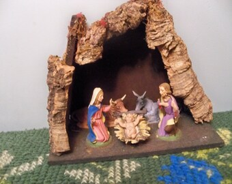 vintage christmas manger stable nativity
