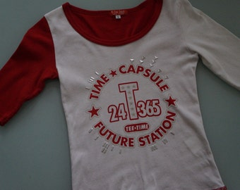 """Time Capsule """"Future Station"""" Fitted Baseball T Shirt with Studs- Made in Japan for a 1990s Rave- XSmall!"""