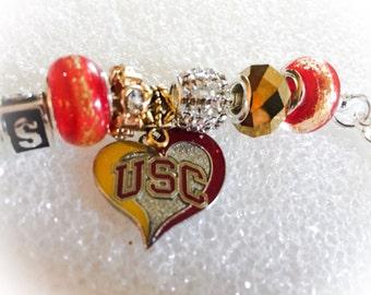 University of Southern California inspired Jewelry bracelets handmade