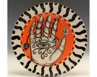 Hand Series - Original Painting by Jenny Mendes on a Round Ceramic Dessert Plate - Unique and one of a kind  - Hearts and Spades