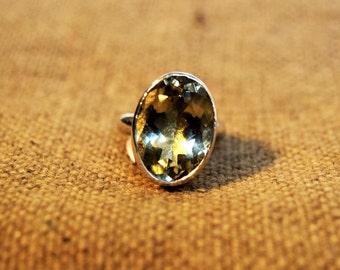 Statement Citrine Ring, Yellow Gemstone Ring, Faceted Gemstone Ring, US Size 6.5