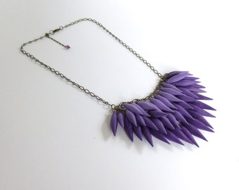 Violet / Amethyst / Purple Polymer Clay Spike Ombre Statement Necklace (Petite Version) / Antique Bronze