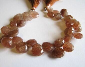 Natural Strawberry Quartz Heart Briolettes, 8 inch full Strand 10-14mm Beads (w66)