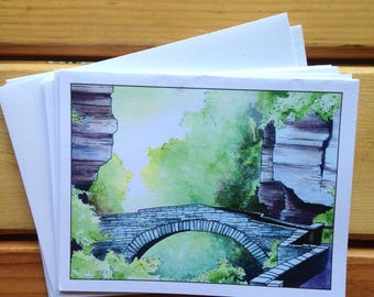 6 blank cards - Ithaca Gorges - Lucifer Crossing at Treman State Park