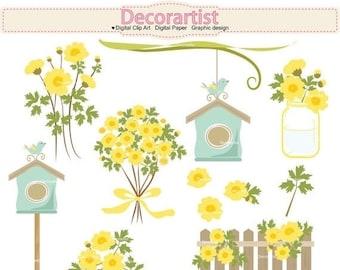 ON SALE Flowers clip art, Botanical clip art,country garden clip art,yellow flowers, bird and birdhouse clip art,INSTANT Download