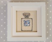 Handmade Perfume Bottle Embroidered Picture. Freehand machine embroidery beaded and framed. Birthday Gift.
