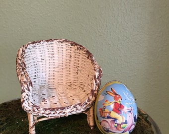 Vintage doll size white wicker chair