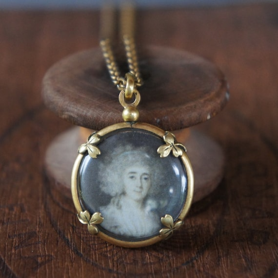 Antique Assemblage Necklace with French Picture Locket Mourning Images and 18th Century Portrait Miniature