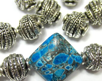 18 Antique Silver beads large hole tribal bead 10mm x 10mm ethnic beads (R2)
