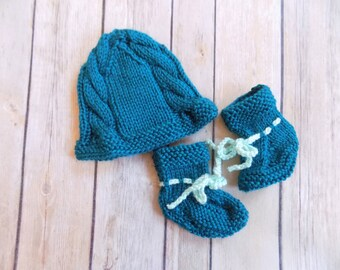 Baby Hat and Booties Set, Knit Baby Beanie, Baby Booties Socks Crib Shoes, Baby Shower Gift