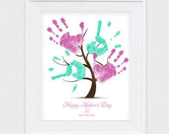 mother's day gift kids handprint tree - printable file - diy decoration memory keepsake instant download, grandma grandmother, craft project