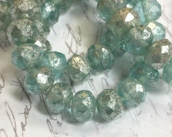 8 x 6mm Aqua Mercury Glass Rondelles Czech glass Beads 10 pieces BOHO Supplies #450