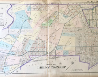 Original 1910 Delaware County Atlas map of Part of Ridley Township