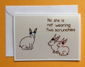 Middle School Bunnies Wearing Scrunchies Embroidery Greeting Card