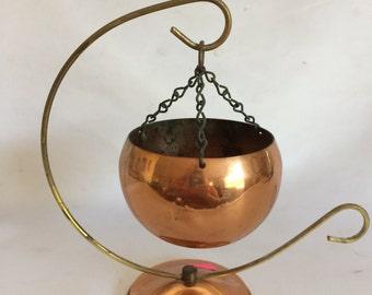 Vintage Hanging Coppercraft Guild Hanging Planter and Bracket
