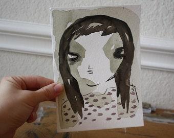 Watercolor Original Watercolor Original Art Sad Girl Watercolor Art Watercolor Illustration Girl Illustration