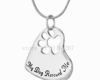 """Beautiful """"My Dog Rescued Me"""" Necklace"""