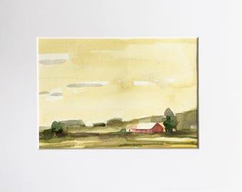 Red Barn • original watercolor painting