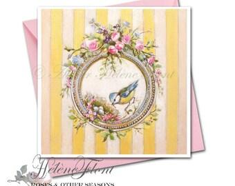 Carte voeux, naissance, Nid Bébé Printemps Cadre rond, fleurs, ornement, oiseau  Enfant  © Hélène Flont Designs