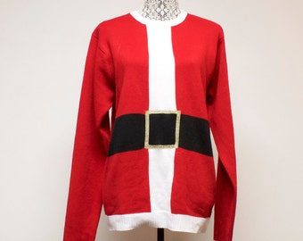 Vintage ugly Christmas Santa Suit sweater size medium by Jolly Sweaters