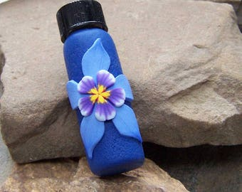 Columbine Flower Needlecase, Flower Bottle, Blue Columbine, Colorado State Flower, Gift for Her Wife, Quilting Tool, Cross Stitch Notion