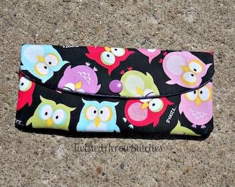 Owl Cash Envelope, Snap Pouch, Coupon Holder, Budget, Pouch, Purple