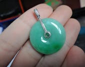 18k Solid White Gold Diamond Natural A Jadeite Jade Full Green Donuts Pendant