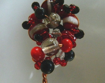 Shawl or Hair Pin Copper with Handmade Lampwork, Crystal and Natural Beads, SP2