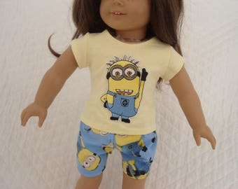 """Yellow Minion T-Shirt and Blue Boxer Shorts for American Girl or Other 18"""" Dolls"""