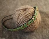 Green and Gold Headband, Women Beaded Headband, Women Headband, Bohemian Headband, Indie Headband, Braidsmaids Gift, Gift for Her