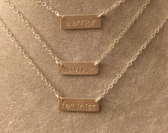 feminist, warrior, or survivor sterling silver bar necklace --hand stamped.  feminism equality politics election democrat election 2016