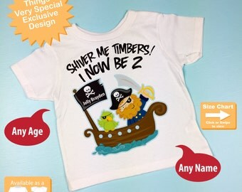 Two Year Old's Pirate Birthday Shirt Personalized Pirate Birthday Shirt or Pirate Onesie with Your Child's Name and Age (05032012b)