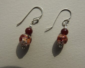 Vintage Venetian Foil Glass Bead and Carnelian Earrings
