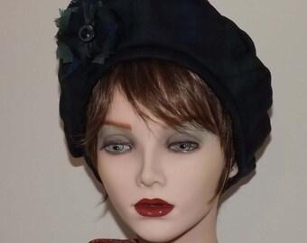 Ladies Scottish Tam, Black Watch Tartan Fabric Hat