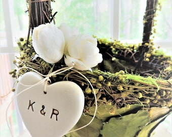 FLOWER GIRL BASKET Moss Leaf Rustic Personalized Heart Green White Woodland Wedding Nature Fairy Tale Ceremony Decor Barn Forest Wedding