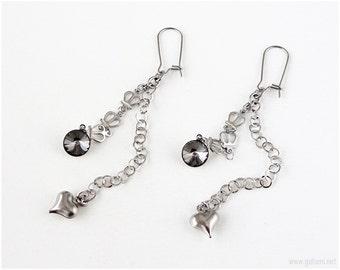 Silver Crown Chain Earrings, Gray Crystals, Silver Hearts, Very Long, Dangle Earrings, Dainty Earrings, Larme Kei, Kawaii Jewelry