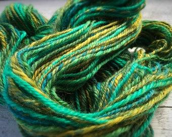 Handspun yarn, handspun worsted yarn, handspun wool yarn, hand spun yarn, green yarn, knitting, crocheting