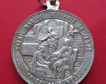 Martha And Mary with Jesus Antique Religious Medal French Catholic Silver Pendant