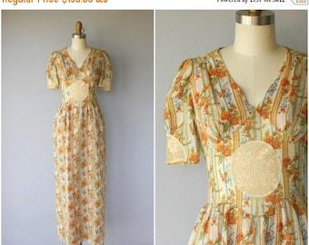 25% OFF FLASH SALE.. 1970s Floral Dress | 70s Cotton Lace Dress | 1970s Maxi Dress | 70s Dress | 1970s Dress (small)