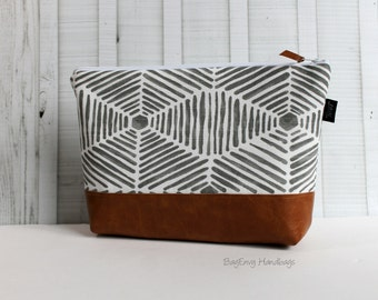 Grey Heni Aztec with Vegan Leather - Large Make Up Bag / Diaper Clutch / Bridesmaid Gift