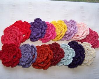 Crocheted flowers motif 3 inch applique rainbow color set of 15